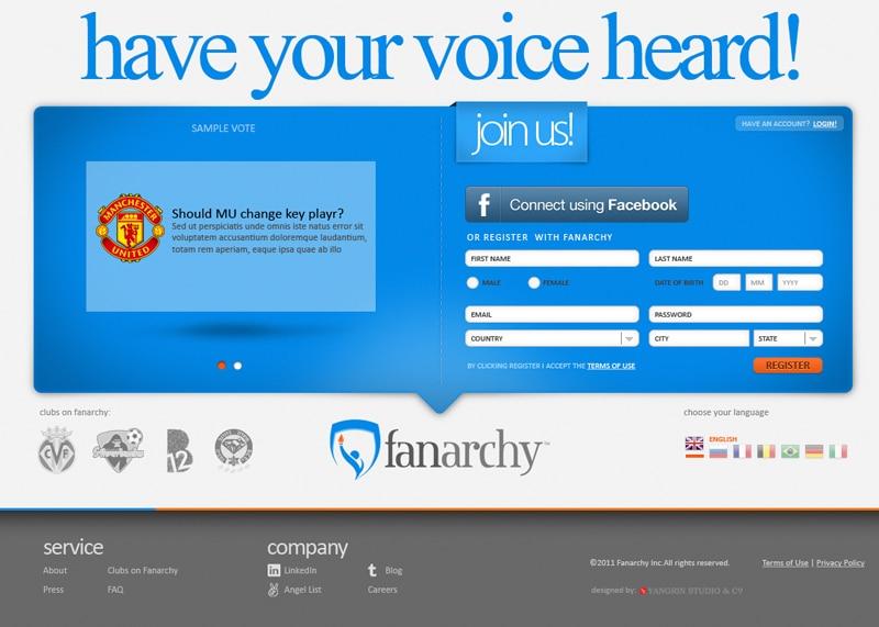עיצוב אתר פרוייקט fanarchy