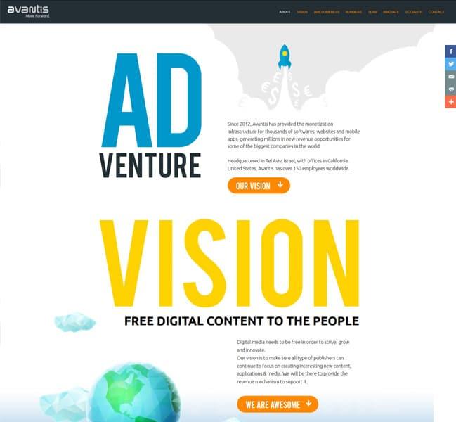 פרויקט עיצוב אתר avantis